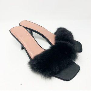 Victorias Secret Kitten Heel Fur Boudoir Slippers